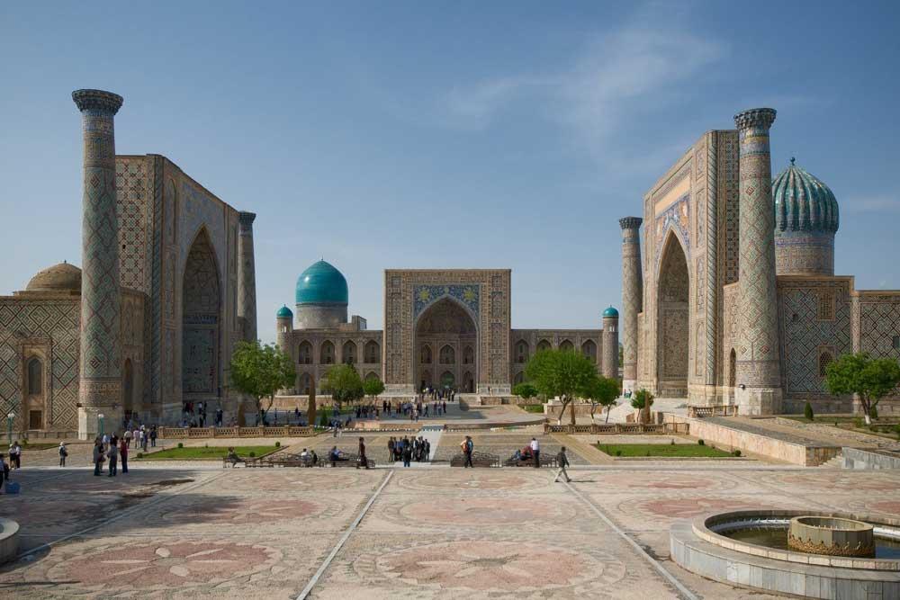 Minarette von Registan Samarqand, Usbekistan