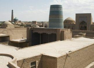 Sicht auf Minarette in Chiva, Usbekistan